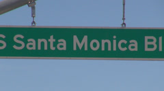 Santa Monica boulevard avenue blvd traffic sign signage road street information  Stock Footage