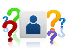 Person sign with color question-marks Stock Illustration