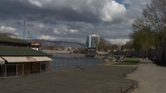 Beautiful sunny spring day for a walk on the quay Stock Footage