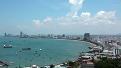 4K (4096x2304) Timelapse: Panorama view of seascape at Pattaya bay, Thailand Stock Footage