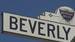 Beverly hills street sign exclusive district luxury area boulevard avenue USA US Stock Footage