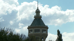 4K Old Water Tower and Cloudy Sky 2 Stock Footage