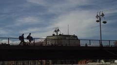 People crossing the bridge Stock Footage