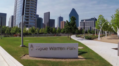 Aerial fly over Dallas's Klyde Warren Park Stock Footage