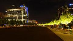 Panning time lapse of Klyde Warren Park at night Stock Footage