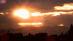 Spring sunset over the city of Nis, Serbia Stock Footage