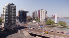 Panning shot on the traffic of the 'Erasmusbrug' Rotterdam Stock Footage