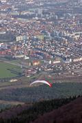Paragliding above Maribor city, Slovenia - stock photo