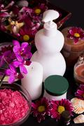Orchids and spa treatment products Stock Photos