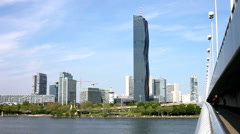 Skyline of Donau City Vienna and the new DC-Tower - stock footage