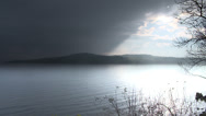Morning shot with overcast sky of Loch Lomond in Scotland Stock Footage