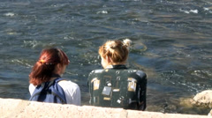 People by the river Stock Footage