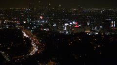 Timelapse Los Angeles highway busy traffic panorama aerial view night tourist US Stock Footage