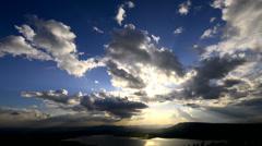 Cloudscape sun burst ray Stock Footage