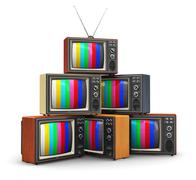 Stack of old color TV - stock illustration