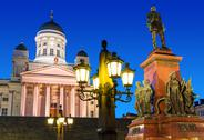 Stock Photo of Senate Square at night in Helsinki, Finland