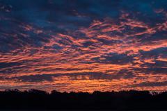 Germany Rheinland minimalist sunset - stock photo