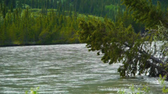Pan Left, River Flows Through Green Valley in Mountain Shadow Stock Footage