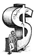 Businessman dollar crisis Stock Illustration