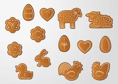 easter gingerbread cookies - stock illustration