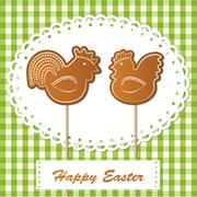 easter gingerbread cookies on spring background, chickens - stock illustration