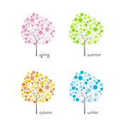 seasonal trees vector - stock illustration
