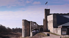 The side view of the old castle Stock Footage