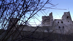 The hill in which the old castle is located Stock Footage