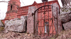 the small old gate of the church - stock footage