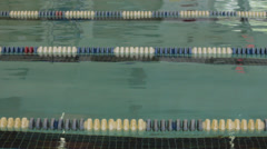 Swimming lanes marked off in pool Stock Footage