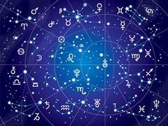 xii constellations of zodiac (ultraviolet blueprint version) - stock illustration