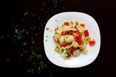 Orecchiette fresh tomato Stock Photos