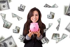 business woman holding piggy bank and banknotes flying - stock illustration