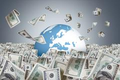 Stock Illustration of dollar banknotes falling on money farm and around earth