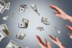 Dollar banknotes falling on young male hands Stock Illustration