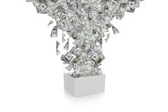 dollar banknotes streaming in white box - stock illustration