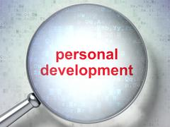 Education concept: Personal Development with optical glass Stock Illustration