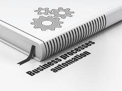 Business concept: book Gears, Business Processes Automation on white background - stock illustration
