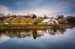 long exposure of centennial lake, at centennial park in columbia, maryland. - stock photo