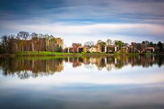 long exposure of waterfront homes at wilde lake, in columbia, maryland. - stock photo