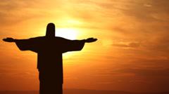 Corcovado Mountain Sunset Rio de Janeiro Brazil Jesus Christ Redeemer Time Lapse Stock Footage
