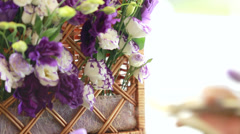 Florist arranging flower bouquet Stock Footage