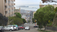 Aerial view Alcatraz Island San Francisco day famous city traffic car street USA Stock Footage