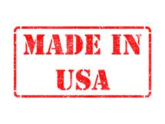 Stock Illustration of Made in USA - inscription on Red Rubber Stamp.