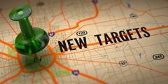 New Targets - Green Pushpin on a Map Background. Stock Illustration
