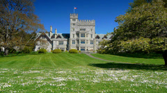 Royal Roads Campus, Green Grass Field, Castle Stock Footage