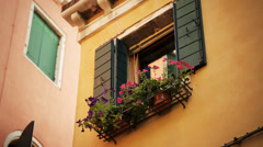 Window with the flowers on Venetian Street Stock Footage