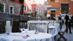 Served tables outside of restaurant waiting for clients Stock Footage