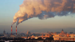 Polluting factory in the city Stock Footage