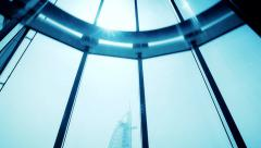 Modern design elevator going down from the sky. Burj al Arab, Dubai Stock Footage